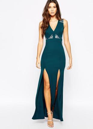 Нарядное платье в пол с кружевом lipsy michelle keegan