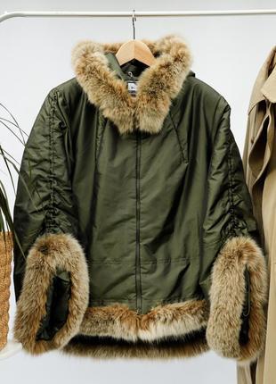 Крутая зимняя куртка мех песца deba oversized