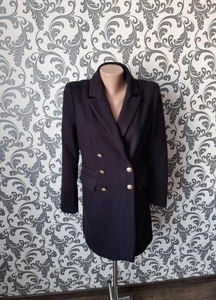 Темно-синее двубортное пальто ( шерсть+кашемир)🔥