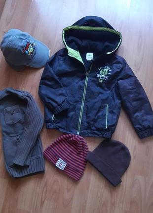 Куртка на флисе на еврозиму +  кепка с ушками. остальное в подарок.