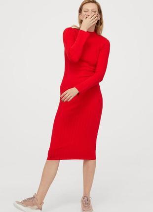 Красное вязаное платье в рубчик h&m 46-48