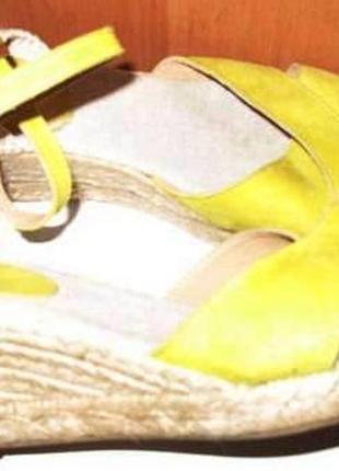 Жовті плетені балетки замша р39