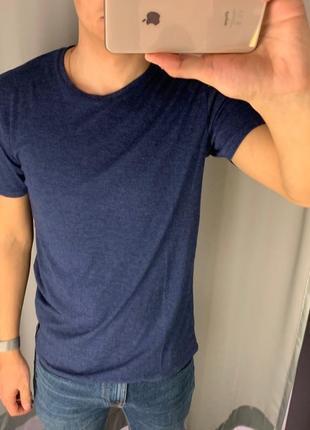 Базовая синяя футболка однотонная тенниска fishbone есть размеры