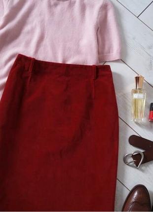 Статусная лаконичная велюровая/ бархатная юбка миди..# 9