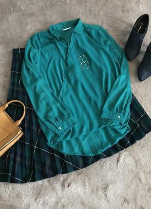 Рубашка блуза изумрудная оверсайз свободная на запах
