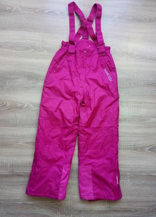 Теплые зимние лыжные штаны на подтяжках на девочку