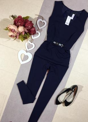 Новый !!! шикарный брючный тёмно-синий комбинезон с зауженными штанами кармашками по бокам