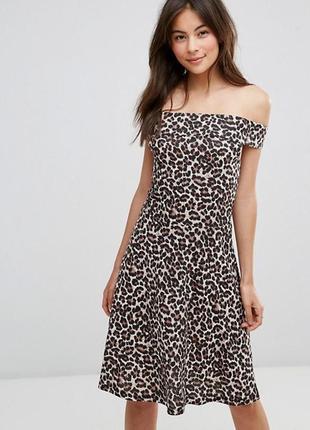 Платье а-силуэт открытые плечи леопард миди качество бренд новое