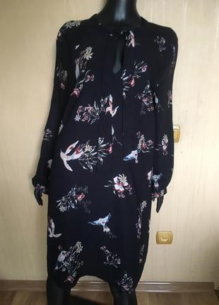 Платье с завязками в принт цветы и птицы h&m