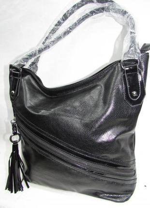 Сумка кожаная женская вместительная мешок черная чёрная мягкая из экокожи новая недорогая