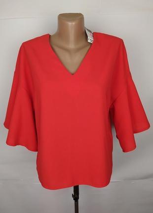 Блуза новая красная стильная с v-образным вырезом primark uk 6/34/xs