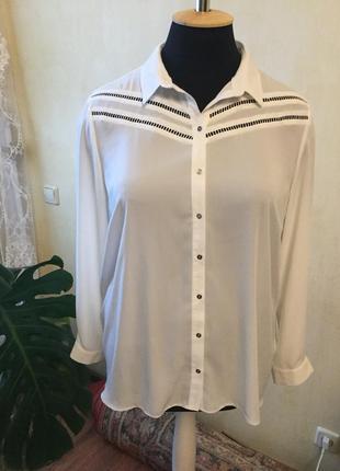 Белоснежная блуза с прошвой на кокетке, удлиненный зад, george,22 размер