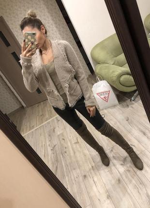 Стильная кофта пиджак бежевый , кардиган promod