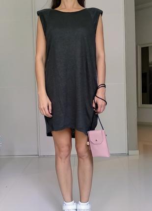 Удлиненная туника оверсайз из чистого льна 100% лён льняное платье размер s-m-l