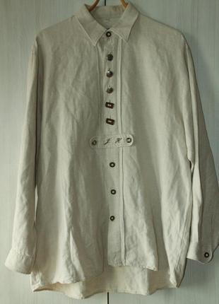 Хлопковая льняная винтажная рубашка фольк бавария германия австрия пивной фестиваль