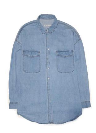 Pull&bear удлиненная, модная, свободная рубашка