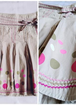 Натуральная хлопковая лёгкая элегантная юбка, декорированная бантиком