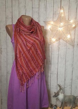 Замечательный яркий полосатый шарф из египта шарфик в вертикальную полоску с бахромой