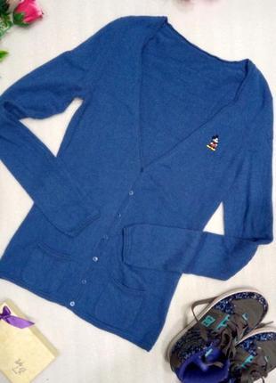 Уютный  синий кашемировый кардиган кофта свитер из 100% кашемира от disney оригинал s-m