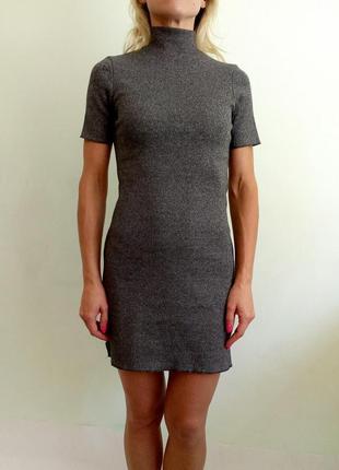 Плотное платье в рубчик xs-s