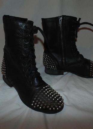 Ботинки сапоги берцы из натуральной кожи steve madden оригинал в идеальном