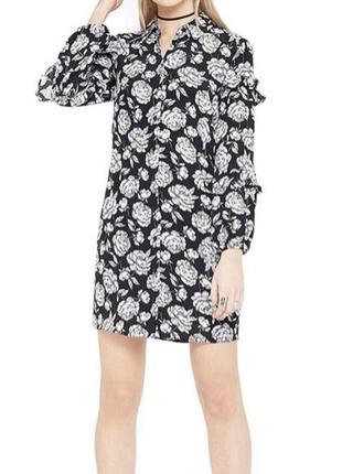 Модное платье-рубашка в цветочный принт