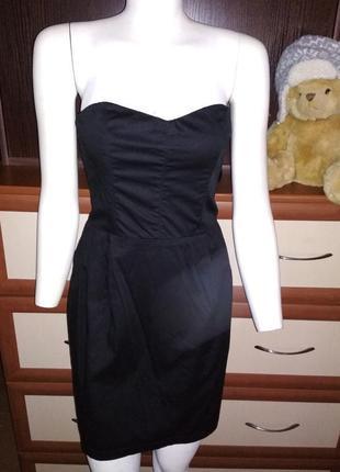🎱чисто чёрное платье бюстье 44рр