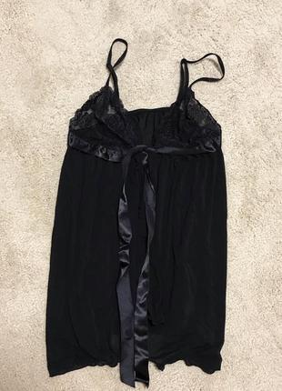 Чёрный кружевной сексуальный пеньюар