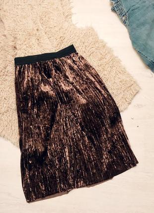 Плиссе спідниця / велюровая бархатная плиссированная  юбка тренд
