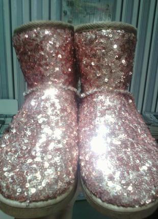 Шикарнейшие угги с пайетками розовое золото 35 размер