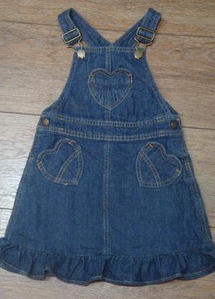 Красивый джинсовый сарафан с сердечками george 4-5 лет