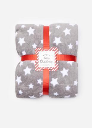 Новый серый плед одеяло покрывало польша узор принт звезды новый год рождество подарок