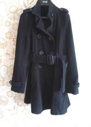 10-12 элегантное демисезонное осенее кашемировое пальто с ремешком и большими карманами