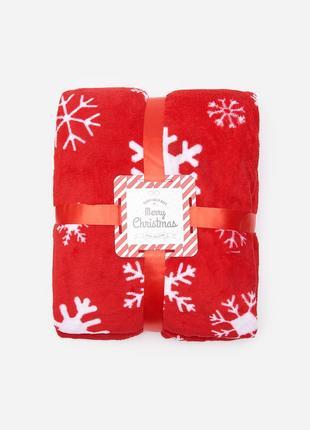 Новый красный плед одеяло покрывало польша узор снежинки снег новый год рождество подарок