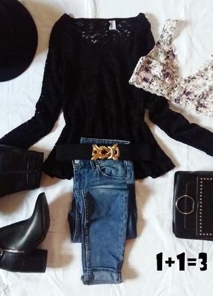 Didided базовая кофточка xs-s кружево гипюр баска блузка пуловер джемпер блуза в обтяжку