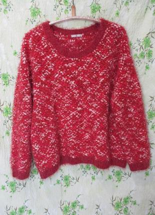 Красивый буклированный свитер/травка/пушистый/батал uk 20