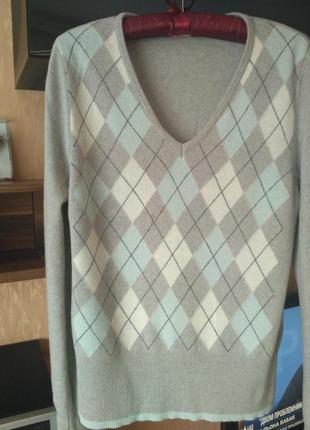 Шикарный шерстяной джемпер, пуловер, свитерок