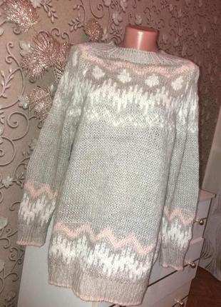 Теплющий удлиненный свитер