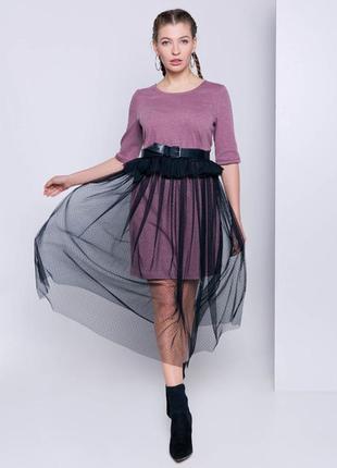 Трикотажное платье с сеткой grand ua