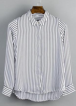 Белая блузка  в полоску, белая рубашка в полоску, шифоновая блуза
