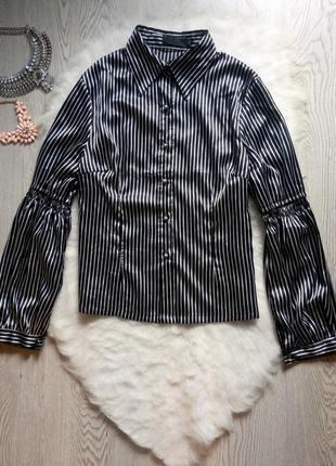 Натуральная шелковая рубашка блуза в полоску с рукавами воланами черная белая zhanna