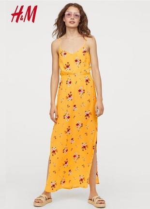 Длинное платье с разрезами по боками в цветочынй принт h&m