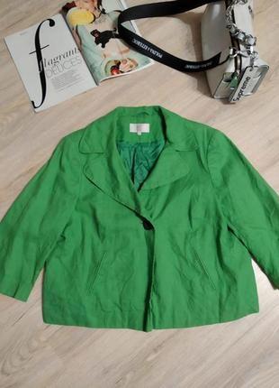 Стильный пиджак жакет зелёный из натурального льна оверсайз