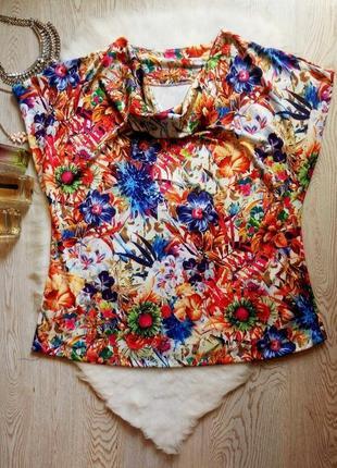 Цветная блуза футболка оверсайз с воротником цветочный принт стрейч батал большой размер