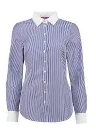 Рубашка цветная офисная белая фиолетовая в полоску женская длинный рукав воротником люкс