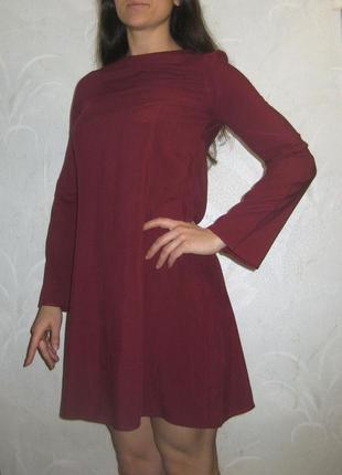 Красивое нежное платье h&m клёш свободное бордо марсала бургунди вискоза