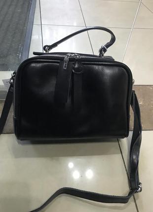 Кожаная сумка сумка кожаная через плечо кроссбоди чёрная