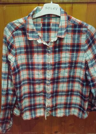 Укороченая рубашка клетка теплая прямой покрой