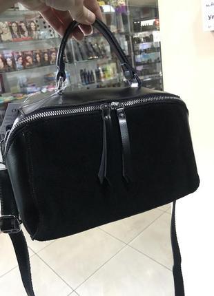 Кожаная сумка замшевая сумка через плечо кроссбоди чёрная