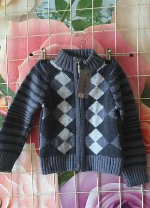 Вязанная кофта на замочке для мальчика на пост 92-98,98-104;